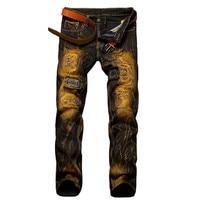 2017 herren Ripped Jeans Hosen Slim Fit Distressed Hip Hop Loch Rock Denim Männlichen Neuheit Streetwear Männer Jean Punk Hose