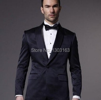 2014 Custom Made One Button Dark Navy Groom Tuxedos Shawl Lapel Best Man Groomsmen Men Wedding