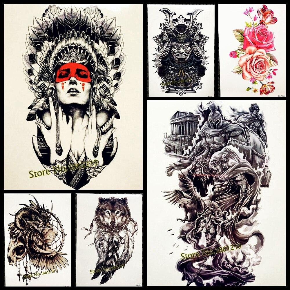 1PC Hot Sale Indian Warrior Waterproof Flash Tattoo Men Body Art Sleeve Arm Tattoo Stickers 21*15CM Large Fake Tatoo Car Styling
