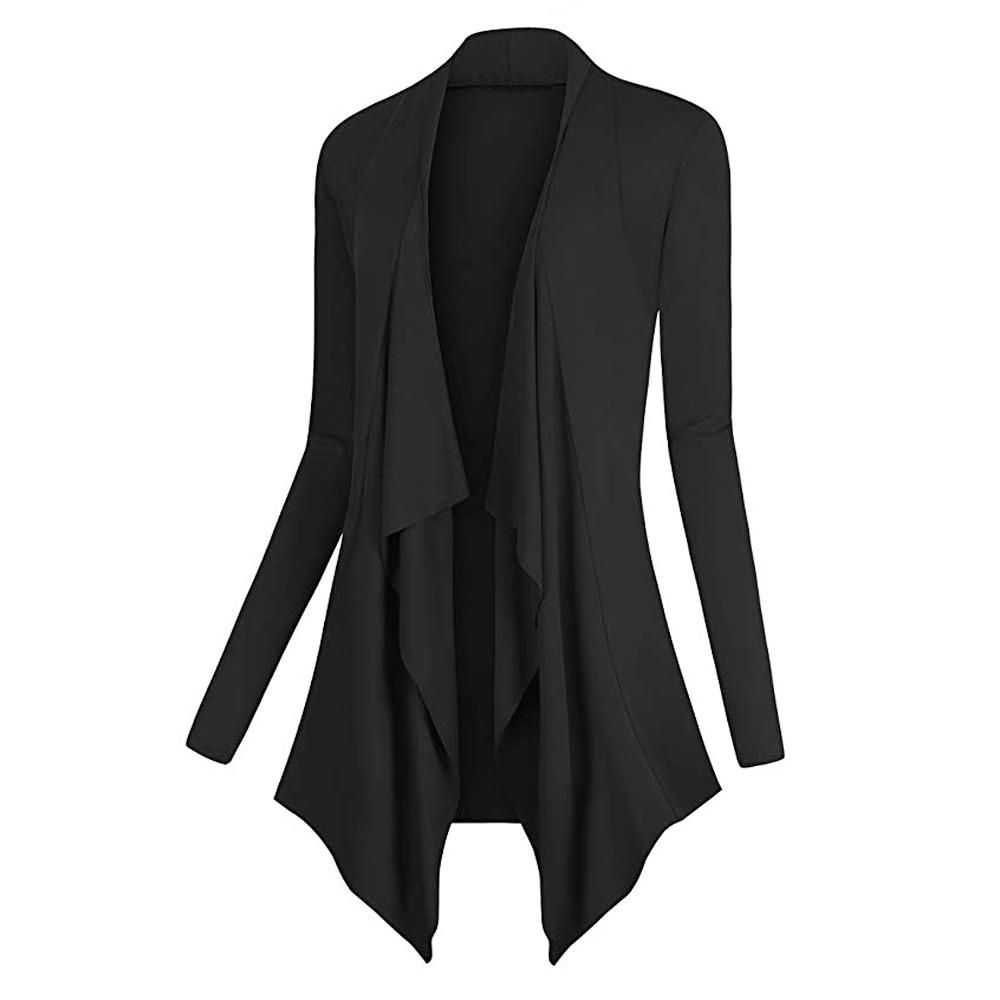 Sweater Women Solid Drape Front Open Irregular Casual  1