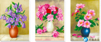 5d Diy Diamond Painting Triplex Vase Cross Stitch Round Rhinestone Diamond Mosaic Picture Home Decoration Christmas