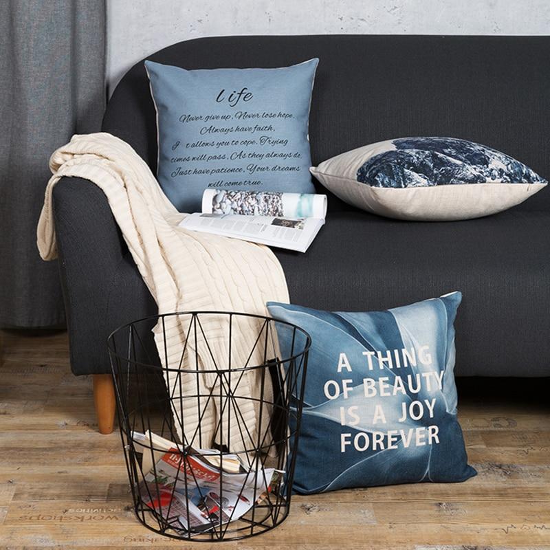 Wholesales Linen Cushion Cove Pillow Cover Ice Mountain Motivation Letter Home Decorative Pillow Case 45x45cm