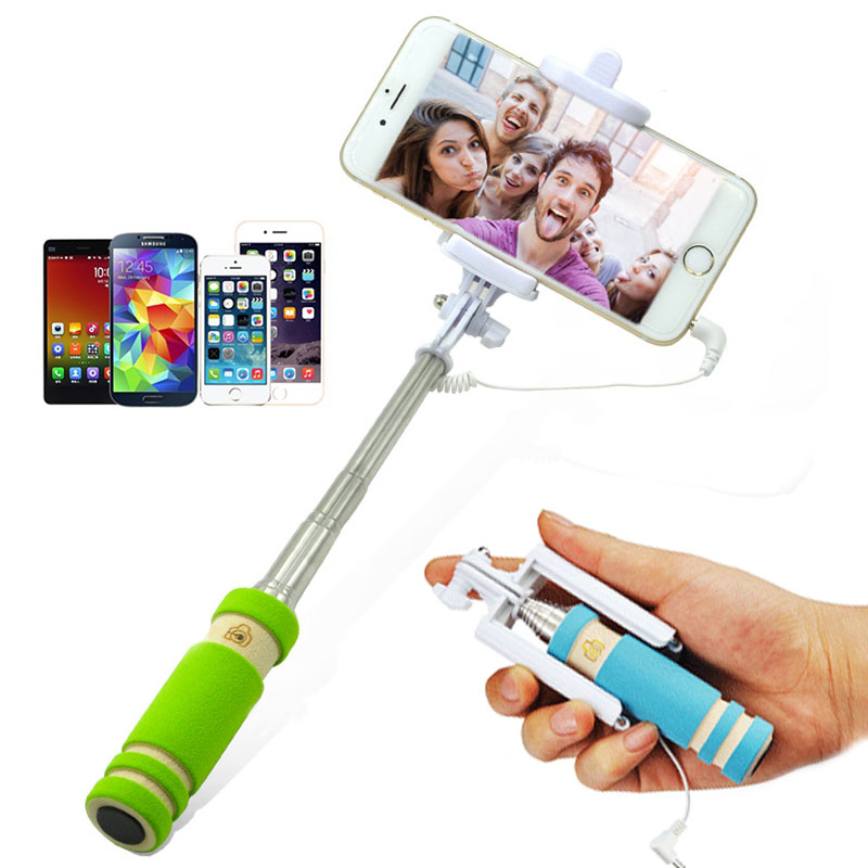 Selfie-Stick Extendable Phone-Clip Handheld Android Automatic Folding Mini New Wired