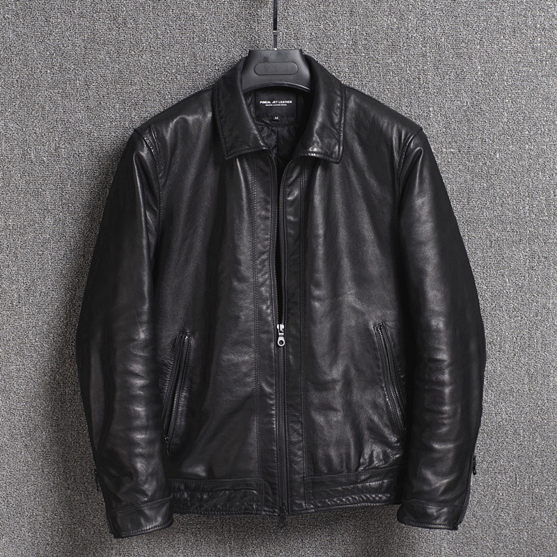 2019 New Genuine Leather Jacket Men Autumn Winter Sheepskin Coat Real Leather Jackets Short Chaqueta Cuero Hombre 16301833M01-24
