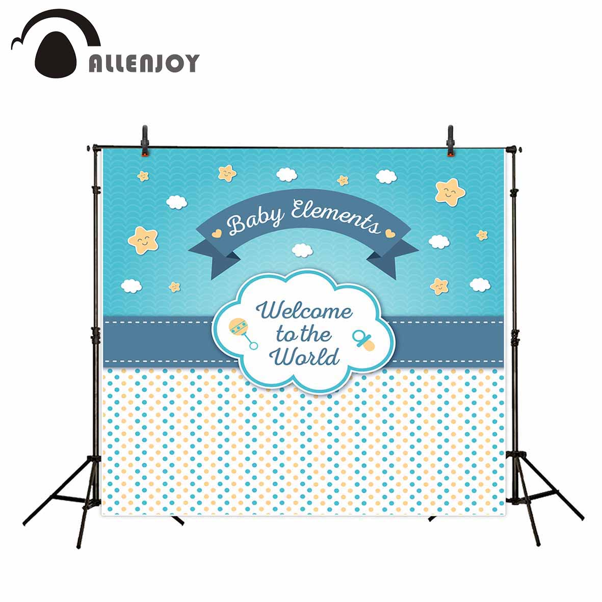Allenjoy photography backdrops baby shower blue dots stars custom background for photo a photo photography studio funds