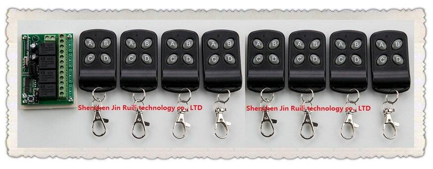 DC12V 4CH 10A wireless remote control switch system teleswitch 8X Transmitter + 1X Receiver relay smart house z-wave ac220v 2ch 10a rf wireless remote control switch system teleswitch 10 transmitter