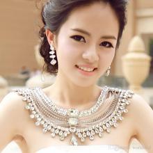 6pcs/lot Wedding Bridal Jewelry Crystal Necklace Shoulder Chains Rhinestone Droplet Pendent Neckchains Layered Necklets jj014 недорого
