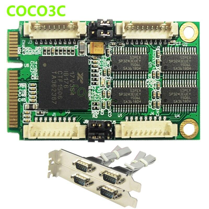 Mini PCIe TO 4 RS 232 DB9 Internal Ports Adapter for Intel Mini ITX Mini PCI