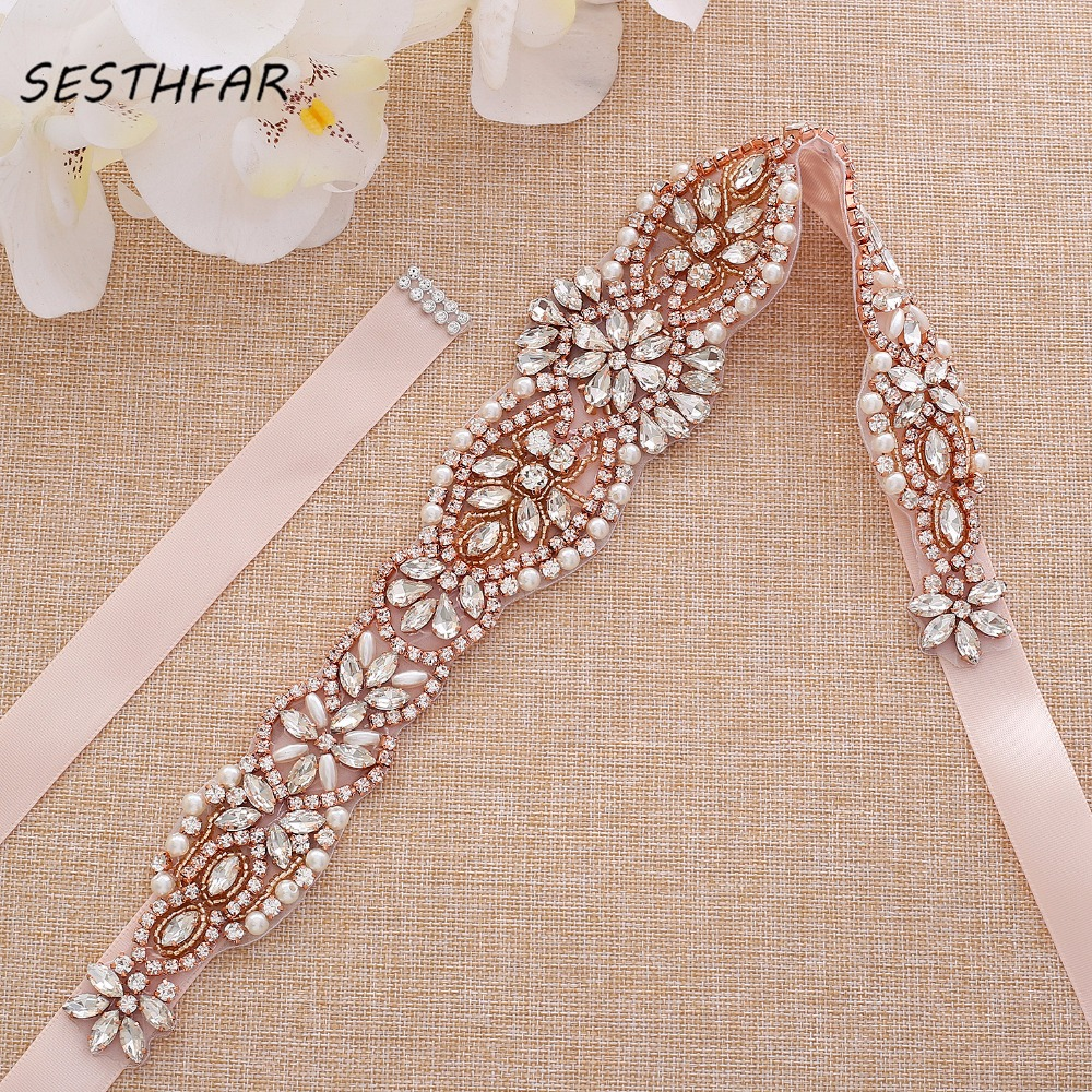Rhinestones Belt Luxury Bridal Dress Belt Hand Beaded Crystal Belt For Bridal Accessories J184RG