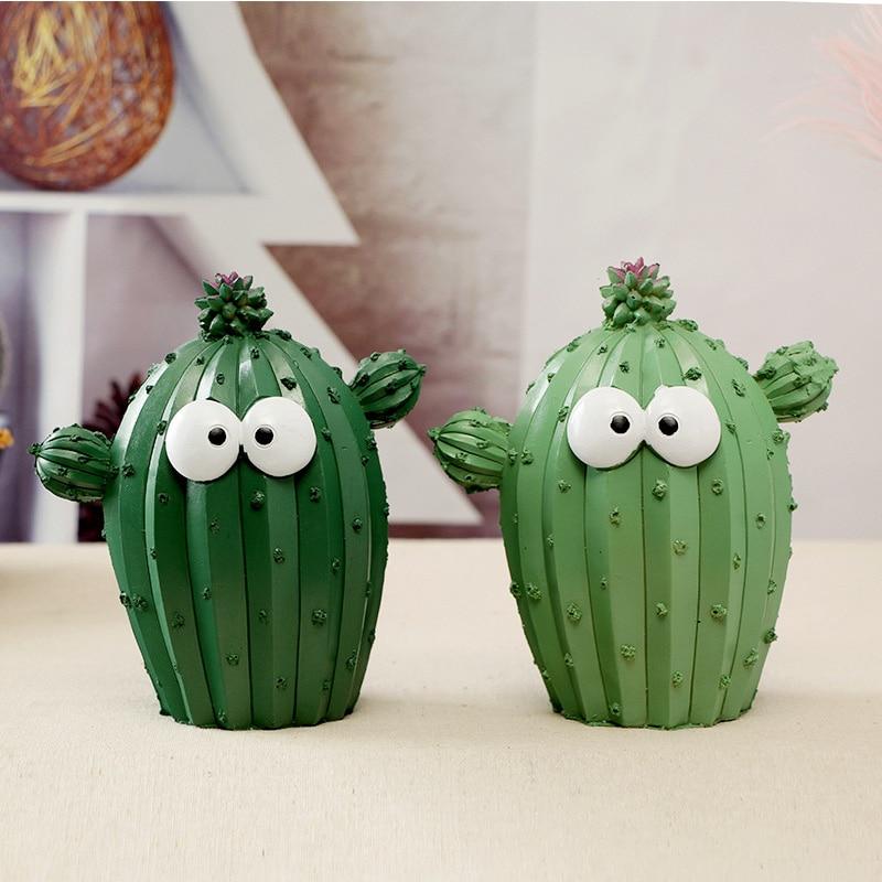 Cartoon Cactus Money Boxes Green Accessories Kids Girls Money Save Bank Bathroom TV Desk Home Decoration Modern