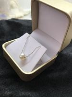 AAA 9.5mm round white freshwater pearl Chain necklace pendant