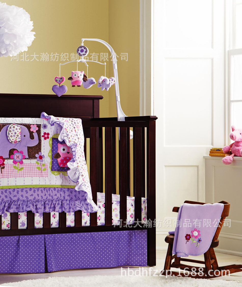 Promotion! 7PCS embroidered 100% cotton baby bedding set ,include(bumper+duvet+bed cover+bed skirt)