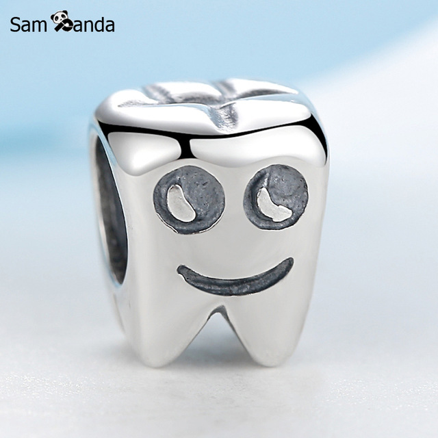 a5fa22d1b ... Authentic 100% 925 Sterling Silver European Tooth Shape DIY Bead Charms  Fit Pandora Bracelets ...