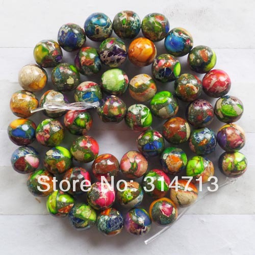YYX66 1Strand 10mm Rainbow Sea Sediment Stone Ball Loose Bead 15.5inch
