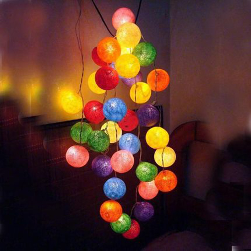 20 Fabric RGB Cotton Ball Light Christmas Navidad String Fairy Lights Luminaria Xmas Wedding Party Romantic Decoration Lamp Bulb