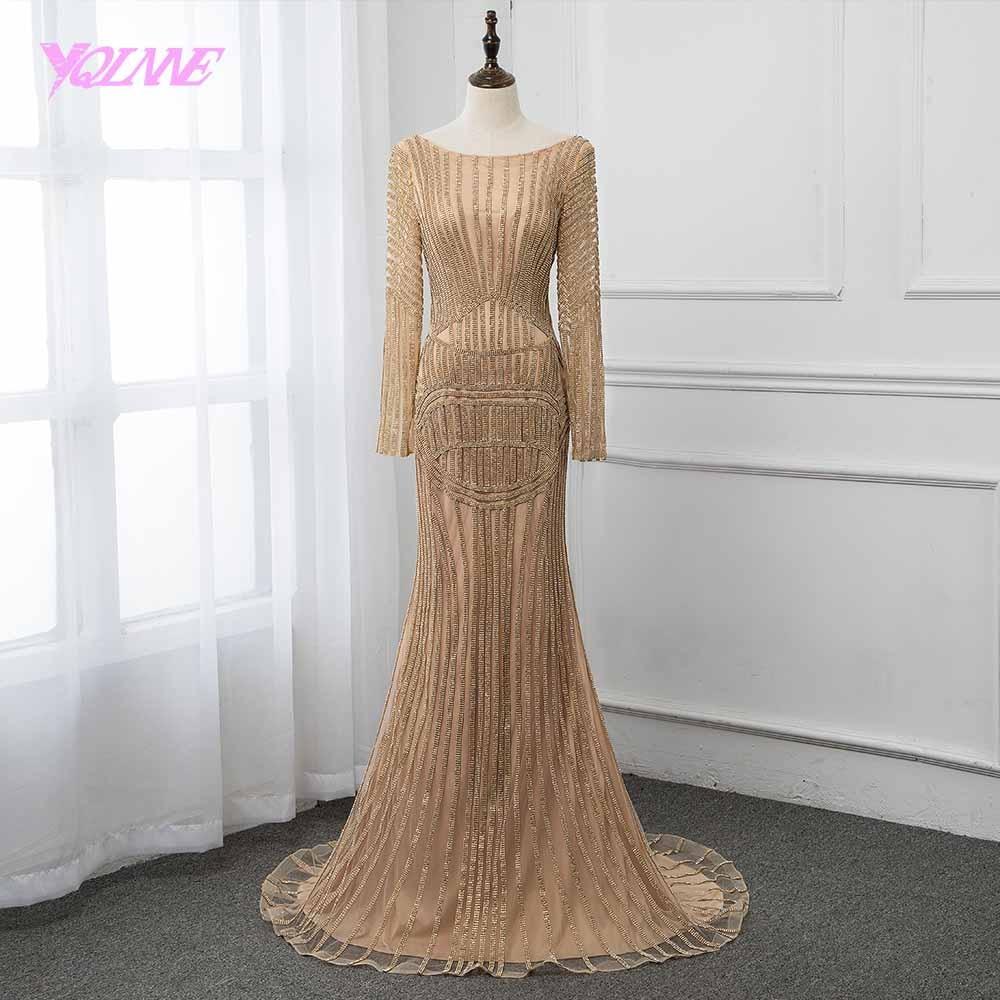 YQLNNE New 2019 Golden Full Sleeve Rhinestones   Evening     Dress   Long Pageant   Dresses   Backless Women Gown Vestidos