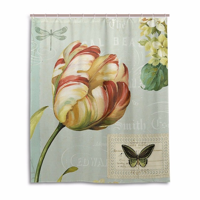 Lotus Shower Curtain Plant Waterproof Mildewproof Bathroom Curtains Bath With 12 Hooks Gift Animal