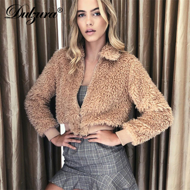 Dulzura women coat lambskin zipper 2018 autumn winter casual warm outwear lambswool   basic     jacket   female lapel streetwear fashion