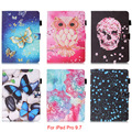 For iPad Pro 9.7 Case Owl Mandala Butterfly Skull Flower Pattern Tablet Back Cover For iPad Pro mini 9.7'' with Stylus holder