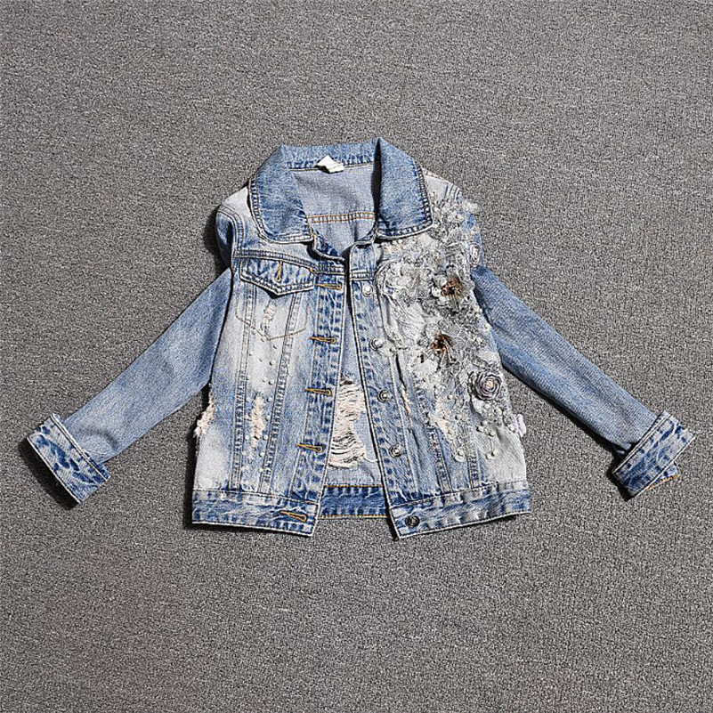 2019 Spring women Ripped Denim   Jacket   Fashion Flower Appliques Long Sleeve Short   Jacket   Plus Size Loose   basic     Jacket   r939