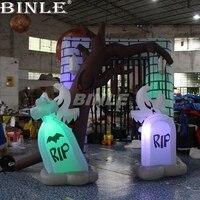 Высокое качество 3mH Хэллоуин украшения открытый двор airblown красочные светодиодный освещения надувные арки Хэллоуин входную арку