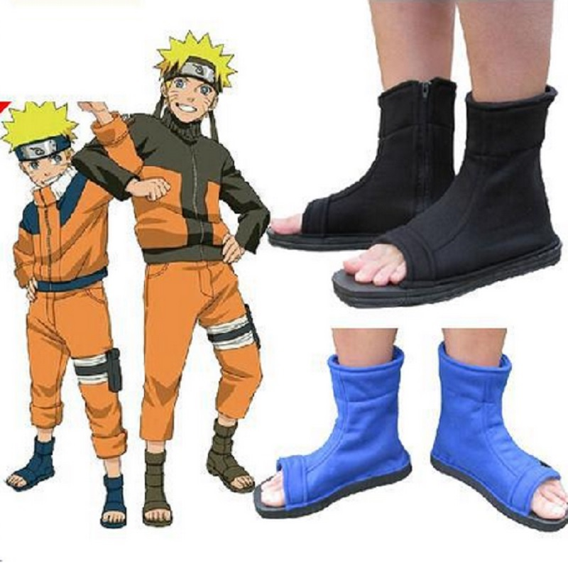 black blue shoe canvas sapatos boots chaussure bota naruto akatsuki ninja cosplay shoes sandalhas do accessories uzumaki costume