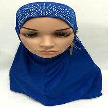 12PCS 2017 New Crystal Hemp Hijab Hooded Bead Hot Drilling Cover Hat Women Muslim Islamic Scarf Underscarf Headwear Hot Sale
