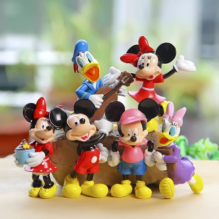Disney Dolls For Kids Wholesale 6Pcs /Set Mickey Dolls Plastic Action Figures Cartoon Anime Dolls Models Juguetes F079