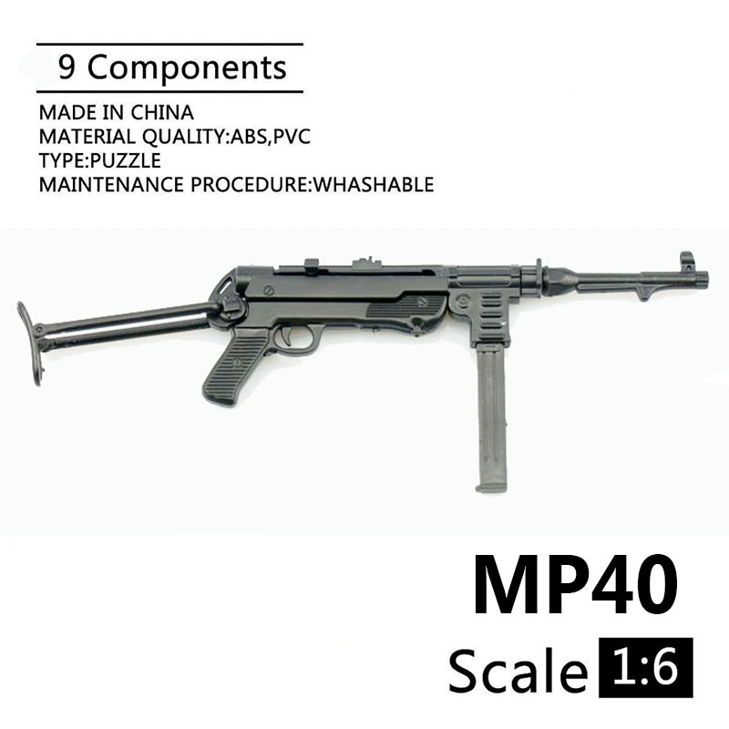 1:6 MP40 Submachine Gun World War II Plastic Assembled Firearm Puzzle Model For 12