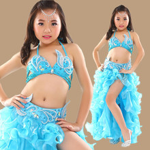 Kids Stage Performance Belly Dancing Clothes 3-piece Oriental Outfit Bra, Belt, Skirt Girls Belly Dance Costume Set for Children(China)