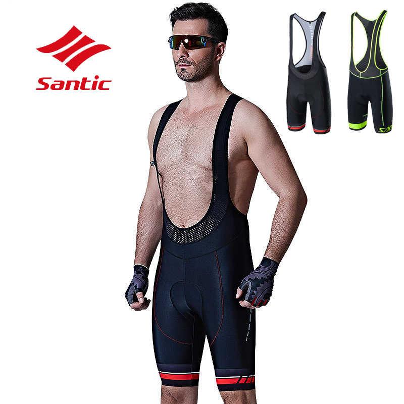 Santic Cycling Bib Shorts Men Padded Breathable Road Bike MTB Tights Half Pants Summer Black