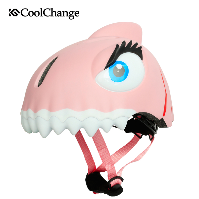 CoolChange Child Bike Helmets Safety Sports Cycling Kids Toddler Helmet Pulley Dinosaur Cartoon Bicycle Helmets For Boys Girls