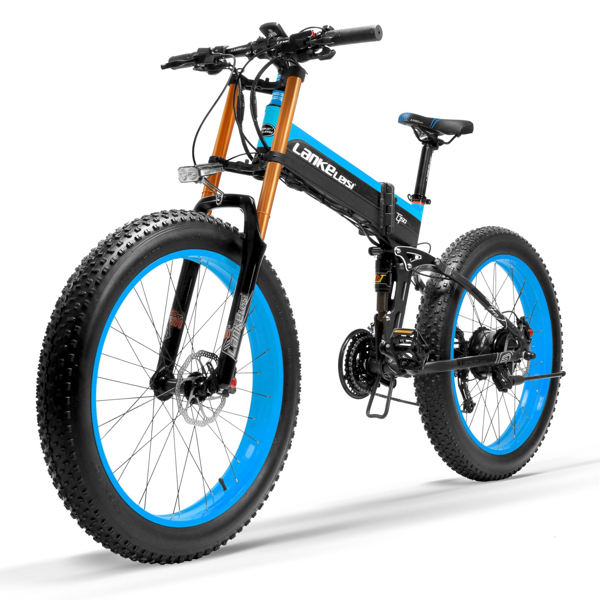 T750Plus Snow Bike 1000W Folding Electric Sand Bike, 48V High Performance Li-ion Battery,5 Level Pedal Assist Sensor Fat Bike 1