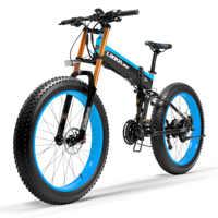 Bicicleta de nieve T750Plus, bicicleta para arena eléctrica plegable de 1000W, batería de iones de litio de alto rendimiento de 48V, Sensor de asistencia de Pedal de 5 niveles para bicicleta gruesa