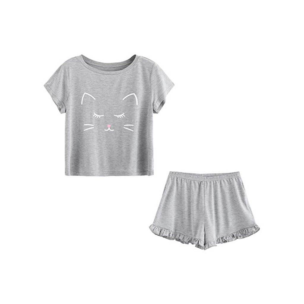 For Polyester Women's Casual Cat Shorts Short Sleeve Ruffled T-Shirt Sleepwear Nightwear Set #G40