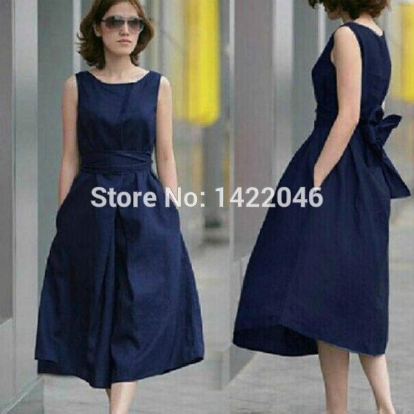 New Fahsion Women Mid Calf Summer Dresses Spring Cotton Linen Loose