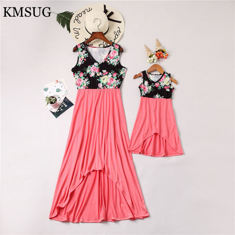 2019 Mother kids Mom and daughter dress striped mother daughter dresses mommy Short sleeve Girl family look matching clothes D04