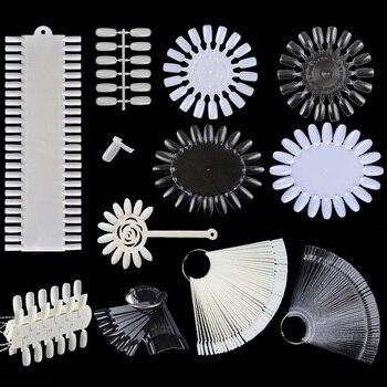 Uñas postizas Color tarjeta hebilla anillo Nail Art práctica utensilios para muestras herramienta de uñas blanco transparente 12 patrones