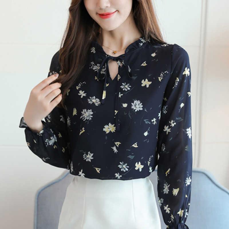 ec383eb456b 2019 рубашка Для женщин Блузка Стильный шифон корейский стиль мода Костюмы  женские блузки в цветочек больших