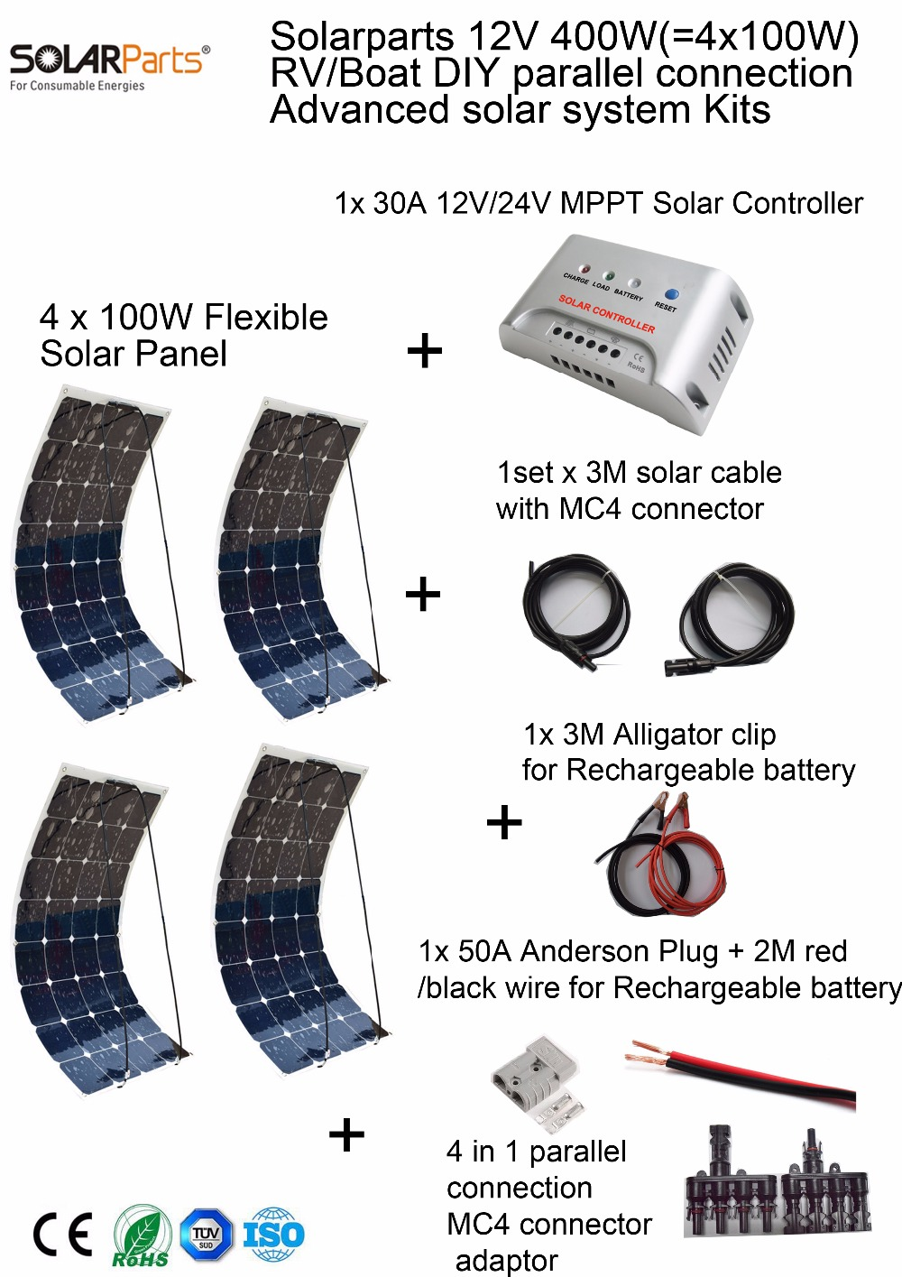 Solarparts 400W DIY RV/Marine Kits Solar System 4x100W flexible solar panel 12V,1 x30A MPPT solar controller set cables cheap. solarparts 100w diy rv marine kits solar system1x100w flexible solar panel 12v 1 x10a 12v 24v solar controller set cables cheap