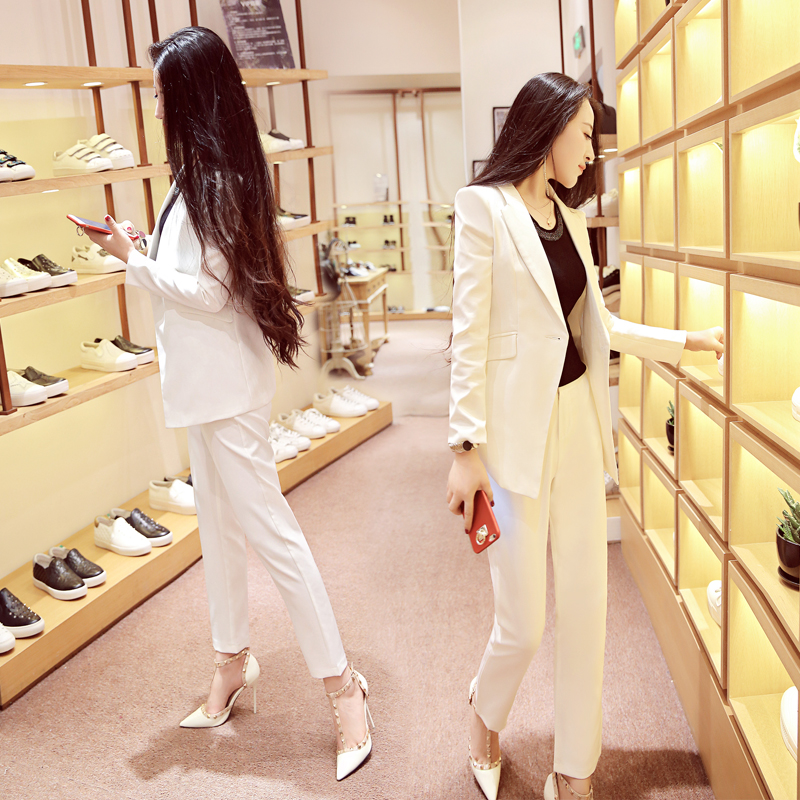 woman 2 piece white Pant Suits Formal Ladies Office OL Uniform Designs Women elegant Business Work Wear Jacket with Trousers Set thumbnail