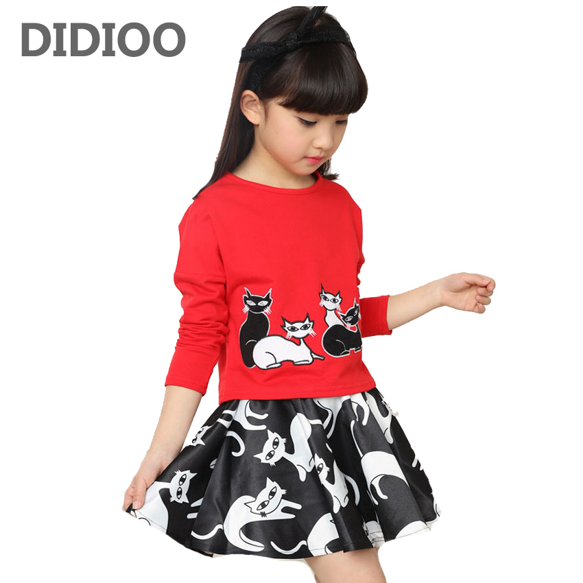 Girls Clothes Cotton Brand Children Clothing Cartoon T-Shirt + Skirts 2Pcs Girls Clothing Sets Spring Kids Tracksuits For Girls