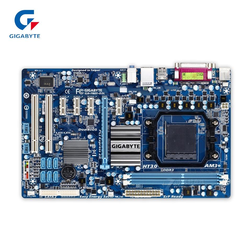 Gigabyte GA-780T-D3L Original Used Desktop Motherboard 780T-D3L 760G Socket AM3+ DDR3 16G SATA2 USB2.0 ATX gigabyte ga ma770 es3 original used desktop motherboard amd 770 socket am3 ddr2 sata2 usb2 0 atx