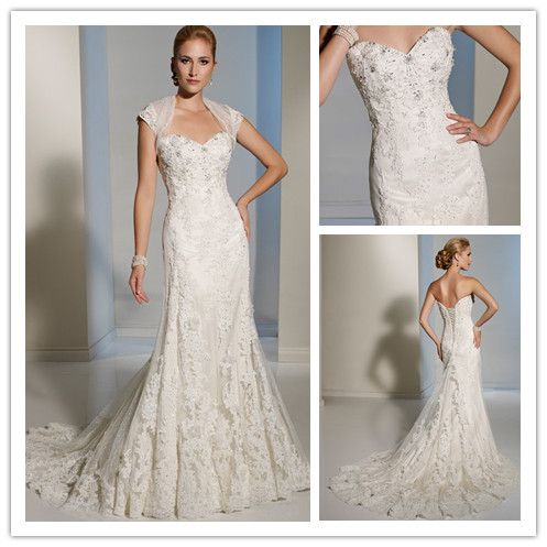 Empire Lace Mermaid Bride Dress Wedding Gowns With Jacket Robe De