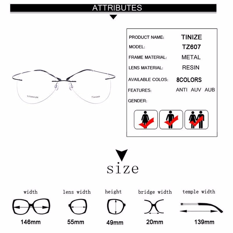 b727080875 Light weight 8 Colors Aviattor Rimless Optical Glasses Memory ...