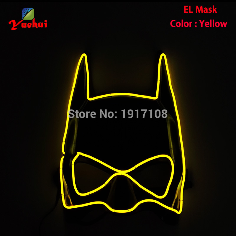 Hot sales Hero Shape 10 Color EL wire Halloween Mask Flashing Festival Neon LED Glowing Party Mask For Christmas,Carnival