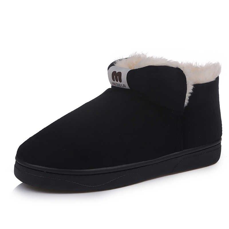 daim chaussures femme fourrure bottes sans chaud Aphixta talons Mujer bottines chaussures plats coton chaussures de lacet peluche Botas neige grande MLSUpzVqG