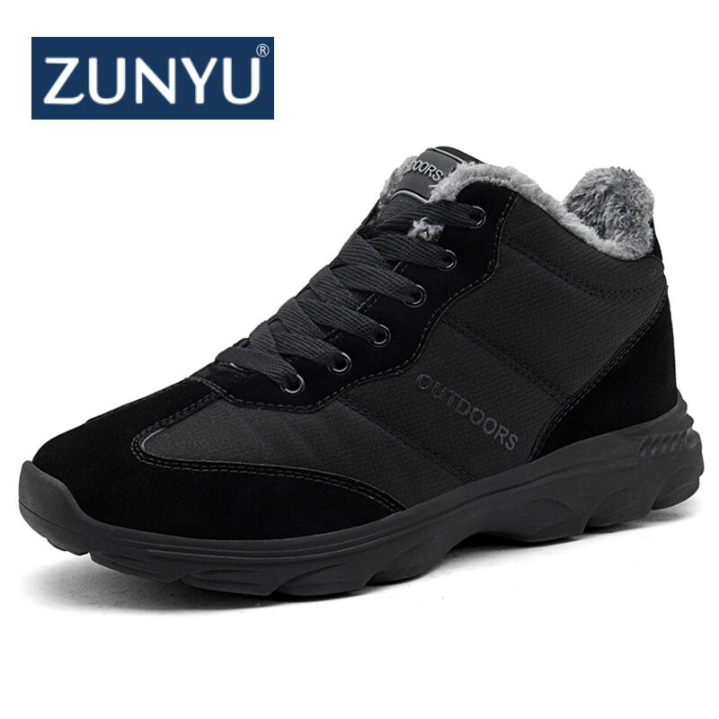 купить ZUNYU New Big Size Winter Mens Boots Men Casual Fahsion Snow Men Ankle Boots Men Leather Boots For Men Shoes With Fur Keep Warm