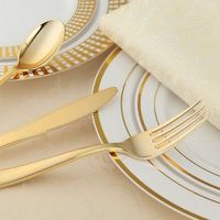 60 People Dinner Wedding Disposable Plastic Plates Silverware Rim Gold Cutlery Party Decorations