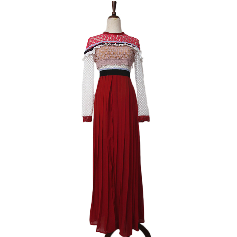 Retro Long Sleeve Patchwork Split Maxi Dress 2018 Spring New high quality  embroidery Lace Hollow Out 7a011e97664f